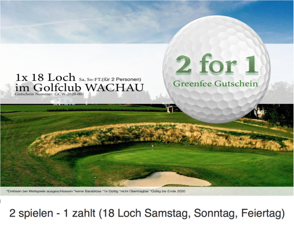 Greenfee Gutschein 2for1 Sa, So, Ft.